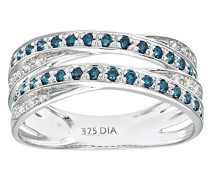 Damen-Ring 9 K Weißgold P1 Diamant blau