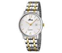 Quarz-Uhr mit weißem Zifferblatt Analog-Anzeige und Silber Edelstahl vergoldet Armband 18176/1