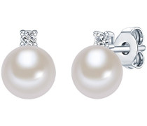 Ohrstecker Hochwertige Süßwasser-Zuchtperlen in ca. 6 mm Button weiß 925 Sterling Silber Zirkonia transparent - Perlenohrstecker mit echten Perlen weiss 60201778