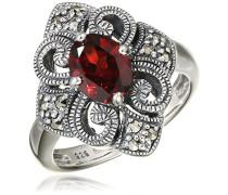 Ring 925 Silber vintage-oxidized Granat rot Markasit 50 (15.9) - L0021R/90/M2/50