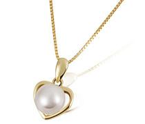 Herz-Halskette Perle Herz 375 Gelbgold 1 Süßwasserzuchtperle Herzanhänger Perlenkette