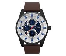 Multi Zifferblatt Quarz Uhr mit Leder Armband PL.15409JSB/04