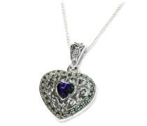 Medallion Sterling-Silber 925 Markasit Herzform Zirkonia Violett 46 cm lange Kette