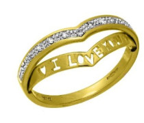 Ring 'I Love You' Wishbone 9 K Gelbgold P2 Diamant