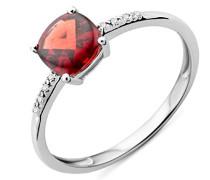 Ring 375 Weißgold rhodiniert Granat rot Kissenschliff Diamant (0.024 ct)