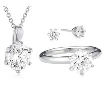 Set: Halskette + Ohrringe 925 Sterling Silber Carats Zirkonia