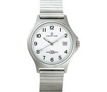 – 615826 – Armbanduhr – Quarz Analog – Weißes Ziffernblatt – Armband Metall silber