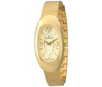 4416.1111 Quarz Schweizer Uhr mit Gold Zifferblatt Analog-Anzeige und Edelstahl vergoldet Armband