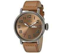 18434 Vintage Uhr Edelstahl Quarz braunen Zifferblat