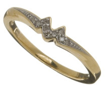 Damen-Ring 9 K 375 Gelbgold Diamant 0,03 ct
