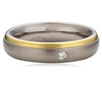 Ring Titan teilvergoldet Diamant (0.03 ct) Brillantschliff weiß