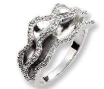 Ring 925 Sterling Silber gewellt mit Zirkonia weiss