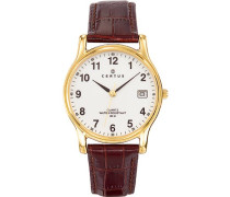 Herren-Armbanduhr 611235 Analog Leder Braun