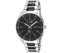 Armbanduhr XL Vista Silver Black Analog Quarz Edelstahl ES105632003