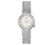 , Designer Diamant-Armbanduhr für Damen, mit Edelstahl-Armband