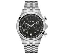 Classic Vintage 96B234 - Designer-Armbanduhr - Chronograph mit Armband aus Edelstahl - schwarzes Zifferblatt