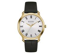 Classic 97A123 - Designer-Armbanduhr - Armband aus Leder - Elegantes Design - Goldfarben mit weißem Zifferblatt