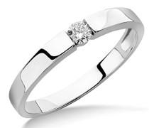 Ring Solitär Verlobungsring Weißgold 9 Karat/375 Gold Diamant Brilliant 0.10 ct