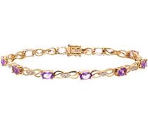 Armband Gelbgold 9 K Diamant Amethyst lila Ovalschliff 1