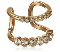 Damen-Ring rotgold Kristall transparent