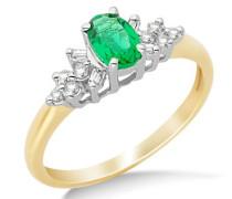 Damen-Ring 9 k (375) Gelbgold Rundschliff Diamant