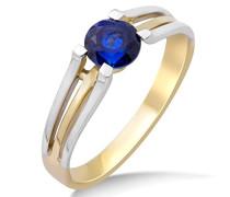 Ring Bicolor Gelbgold/Weißgold 9 Karat/375 Gold Solitär Blauer Saphir