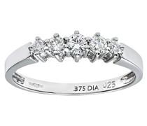 Damen-Ring 375 Weißgold 9 K Diamant PR02707W-N