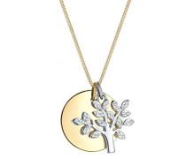 Premium Kette mit Anhänger Lebensbaum Kreis 925 Silber teilvergoldet Swarovski Kristalle weiß Facettenschliff 45 cm 0102170617_45