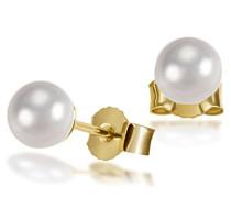 Ohrstecker 585 Gelbgold 2 Akoya Perlen Ohrringe Schmuck