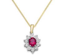 Halskette 9 Karat (375) Bicolor rhodiniert Rubin rot