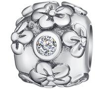 Bead 925 Silber rhodiniert Zirkonia Rundschliff weiß - 60177015