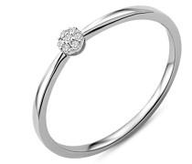 Solitär-Ring Weißgold 9 kt Diamant 0,03 Karat, Größe 52