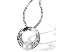 Halskette 925 Sterlingsilber 16 weiße Zirkonia Kettenanhänger Schmuck
