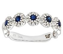 Damen-Ring 9 K 375 Weißgold Saphir Diamant