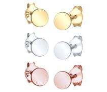 Ohrringe 3er Set Kreis Geo Basic Tricolor Basic Zeitlos silber 925 vergoldet
