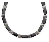 Halskette Sterling-Silber 925 schwarzer Achat Zebra-Jaspis