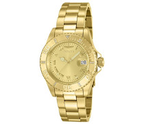 12820 Pro Diver Uhr Edelstahl Quarz goldenen Zifferblat