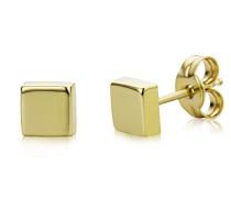 Ohrstecker 9 Karat/Viereckige Ohrringe aus 375 Gelbgold/Hochwertiger Gelbgold-Schmuck Ø 4