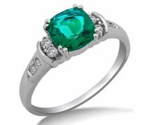 Ring 9 kt Weißgold künstlicher Smaragd Diamant SA9018R