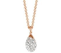 Halskette 925 Sterling Silber rhodiniert Glas Zirkonia Raindrop Rose 42 cm weiß S.ESNL92581B420