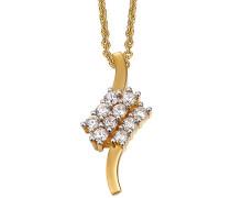 Halskette 925 Sterling Silber rhodiniert Glas Zirkonia L'Éclair 42 cm Weiß S.PCNL90466B420