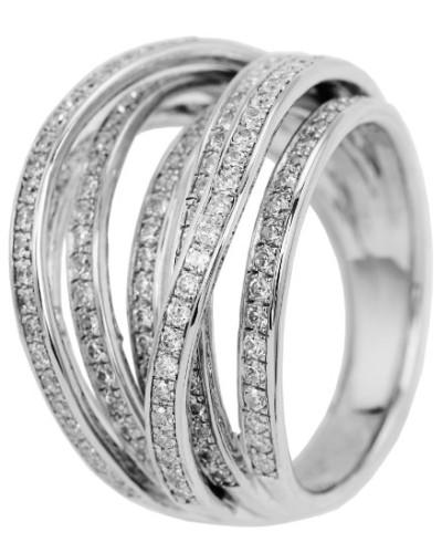 Jewelry Ring 925 Sterling Silber rhodiniert Zirkonia