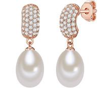 Ohrstecker Sterling Silber rosévergoldet Zirkonia farblos Süßwasser-Zuchtperlen weiß - Perlen-Ohrhänger in Roségold-farben mit Süßwasserperlen hängend weiss
