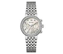 Diamond 96W204 - Designer-Armbanduhr - Chronograph mit Armband aus Edelstahl - Perlmutt-Zifferblatt