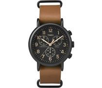 Erwachsene Chronograph Quarz Uhr mit Leder Armband TW2P97500