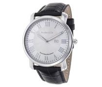Quartz Armbanduhr von für Männer mit Original Schweizer Uhrwerk mit Weißem Zifferblatt Analoger Anzeige und Schwarzem Armband aus Leder Datumsanzeige BC15SA1
