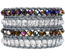 Armband 74 cm + Verlängerung 6 cm Edelstahl Leder Glas weiß 80 cm - 60291043