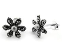 Ohrringe Silber Perle Weiß Süßwasserperlen Weiß 1.05 cm - MER208
