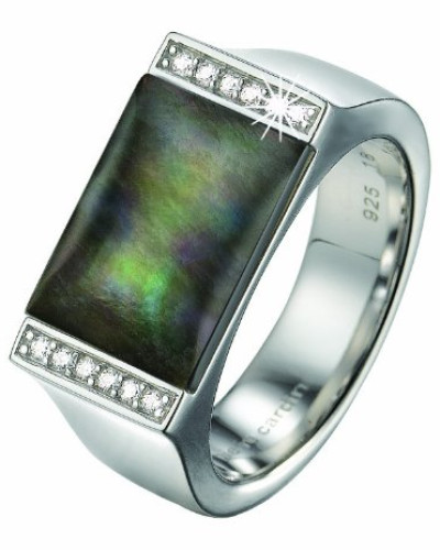 Ring 925 Sterling Silber rhodiniert Kristall Zirkonia Crépuscule weiß