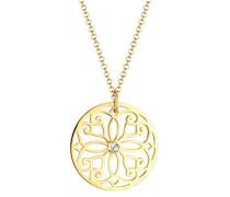 Halskette Extra Lange Kette Ornament vergoldet silber 925 Swarovski Kristall weiß